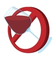 No alcohol sign cartoon icon vector image