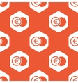 Orange hexagon euro coin pattern vector image