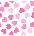 pink hearts seamless pattern random scattered vector image vector image