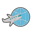 planet sphere with airplane vector image vector image