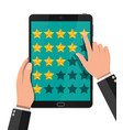 rating app on mobile device reviews five stars vector image