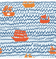 Sea and sailing ships seamless pattern hand drawn vector image