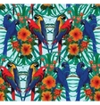 Seamless pattern with macaws and flowers vector image vector image