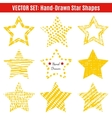 set hand-drawn textures star shapes vector image vector image