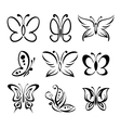 Set of butterfly silhouettes llustration vector image vector image