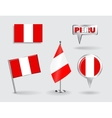 Set of Peruvian pin icon and map pointer flags vector image