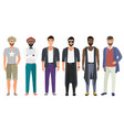 stylish handsome men dressed in modern casual vector image vector image