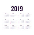 template calendar 2019 week starts from sunday vector image