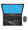 top view black laptop and mouse vector image vector image
