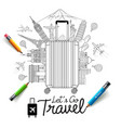 tourism and travel doodles art style vector image vector image