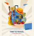 travel concept with suitcases sunglasses hat vector image vector image