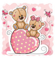 two bears is sitting on a heart on a pink vector image vector image