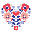 valentines day floral folk art heart design vector image