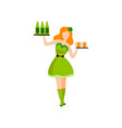 waitress in green irish traditional costume with vector image vector image