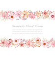 watercolor seamless floral frame isolated on a whi vector image vector image
