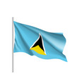 waving flag of saint lucia vector image vector image