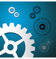Abstract Paper Cogs Gears on Blue Background vector image vector image