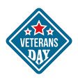 american veterans day logo flat style vector image