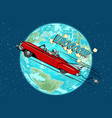 astronaut in an electric car over the planet earth vector image vector image