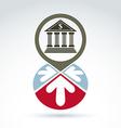 Bank building with arrows icon conceptual symbol vector image vector image