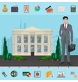 Bank manager near Bank building with modern vector image vector image