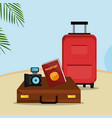 beach landscape with suitcase and set icons vector image vector image