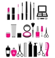 beauty set of cosmetics icon vector image vector image
