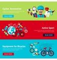 Bicycle flat banner set vector image vector image
