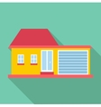 Big house with garage icon flat style vector image vector image
