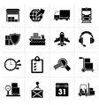 black logistic cargo and transportation icons vector image