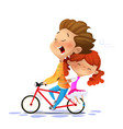 boy with girl riding a bike vector image vector image