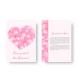 card with a heart of pink petals vector image vector image