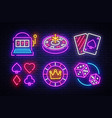 casino neon collection icons casino vector image