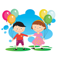 children with a balloon vector image