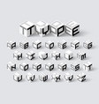 cube shape 3d isometric font three-dimensional vector image vector image