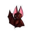 cute brown bat say hello with wing up shiny eyes vector image vector image
