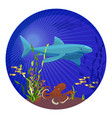deep sea creatures big shark small fish and vector image