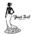 elegant wedding bridal wear fashion boutique logo vector image