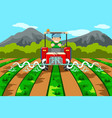 farmer watering the farm with tractor vector image vector image