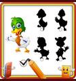 find the correct shadow cartoon funny duck presen vector image vector image