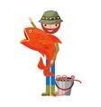 fisherman holding big fish bucket worms vector image vector image