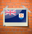 Flags Anguilla scotch taped to a red brick wall vector image