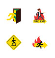 flat icon door set of fire exit direction pointer vector image vector image