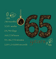 floral card number sixty five and pocket watch vector image vector image
