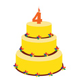 Fourth birthday cake vector image vector image