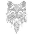 fox hand-drawn with ethnic floral doodle pattern vector image