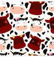 funny cute cows with flowers bows and calves vector image vector image