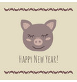 funny pig retro stylehappy new year phrase vector image vector image