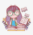 girl read book with flowers plants vector image vector image