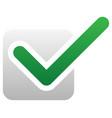 green check mark over square tick symbol icon
